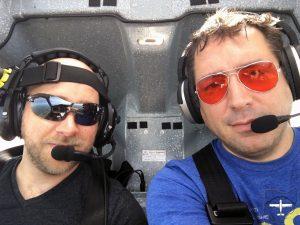 Matt sits co-pilot seat.