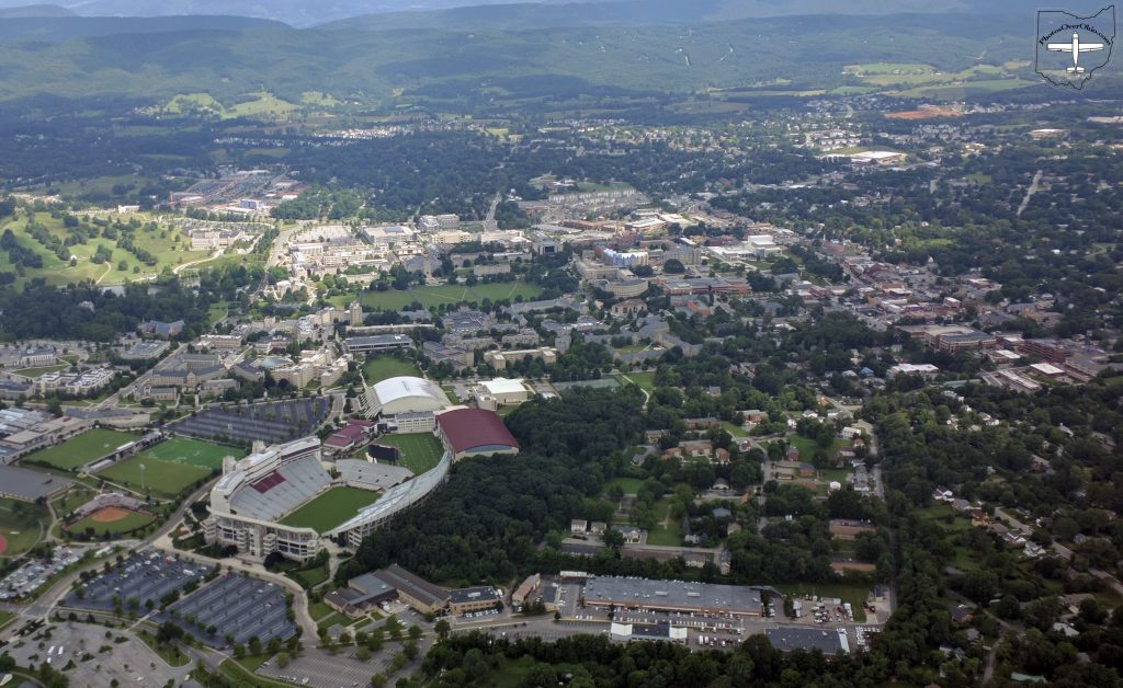 Virginia Tech campus from the southeast.